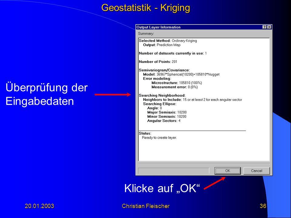 """Überprüfung der Eingabedaten Klicke auf """"OK 20.01.2003"""
