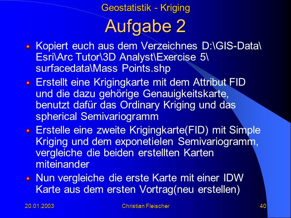 Aufgabe 2 Kopiert euch aus dem Verzeichnes D:\GIS-Data\ Esri\Arc Tutor\3D Analyst\Exercise 5\ surfacedata\Mass Points.shp.