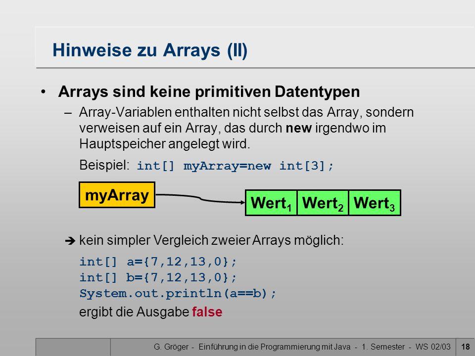 Hinweise zu Arrays (II)