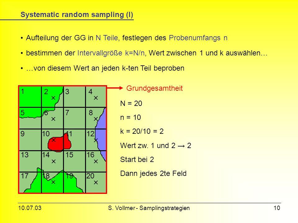 Systematic random sampling (I)