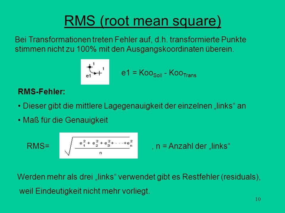 RMS (root mean square) Bei Transformationen treten Fehler auf, d.h. transformierte Punkte stimmen nicht zu 100% mit den Ausgangskoordinaten überein.