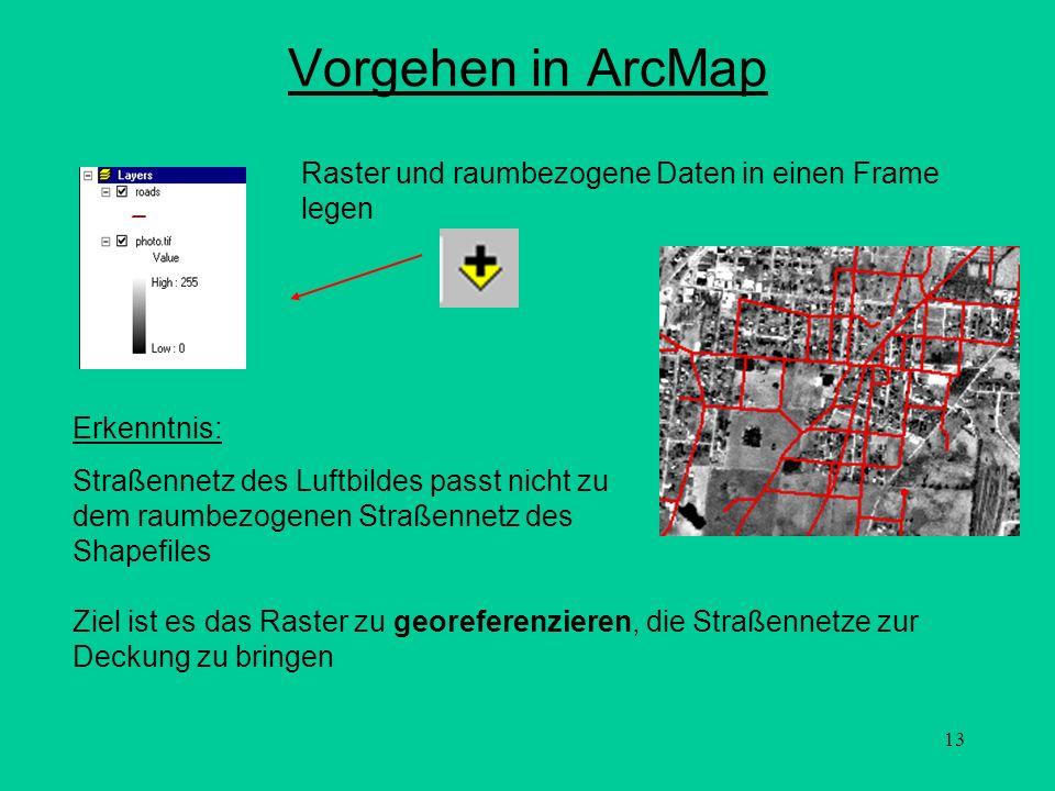 Vorgehen in ArcMap Raster und raumbezogene Daten in einen Frame legen