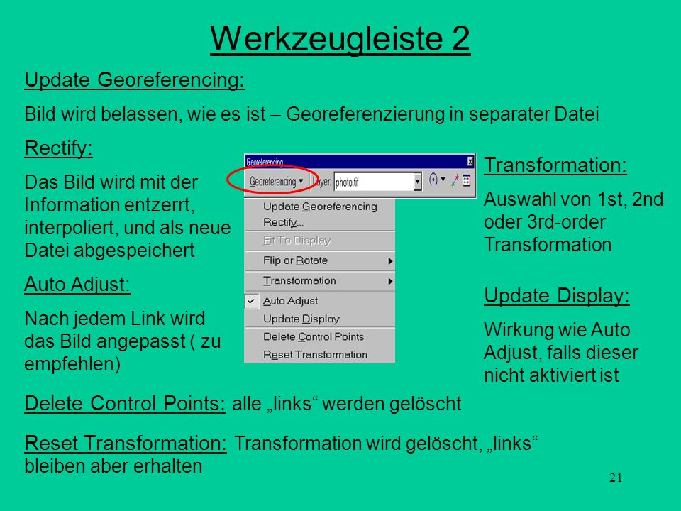 Werkzeugleiste 2 Update Georeferencing: Rectify: Transformation: