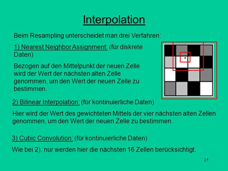 Interpolation Beim Resampling unterscheidet man drei Verfahren: