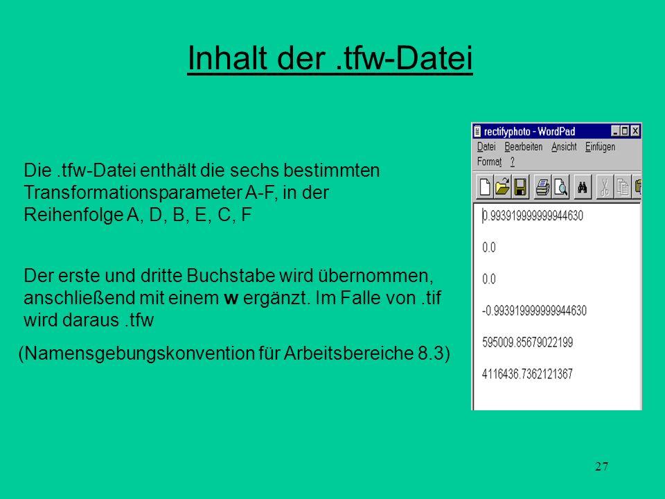 Inhalt der .tfw-Datei Die .tfw-Datei enthält die sechs bestimmten Transformationsparameter A-F, in der Reihenfolge A, D, B, E, C, F.