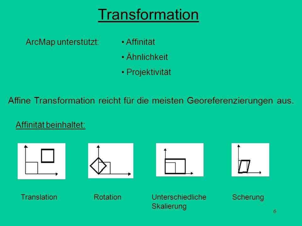 Transformation ArcMap unterstützt: Affinität. Ähnlichkeit. Projektivität. Affine Transformation reicht für die meisten Georeferenzierungen aus.