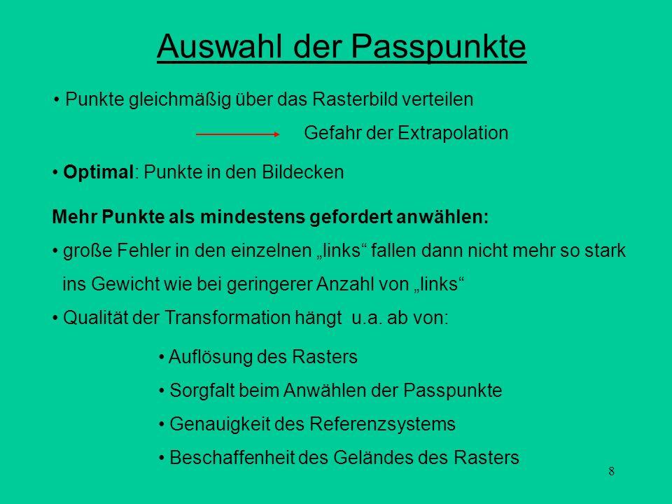 Auswahl der Passpunkte