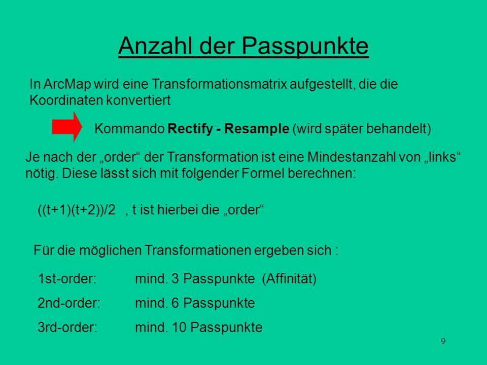 Anzahl der Passpunkte In ArcMap wird eine Transformationsmatrix aufgestellt, die die Koordinaten konvertiert.