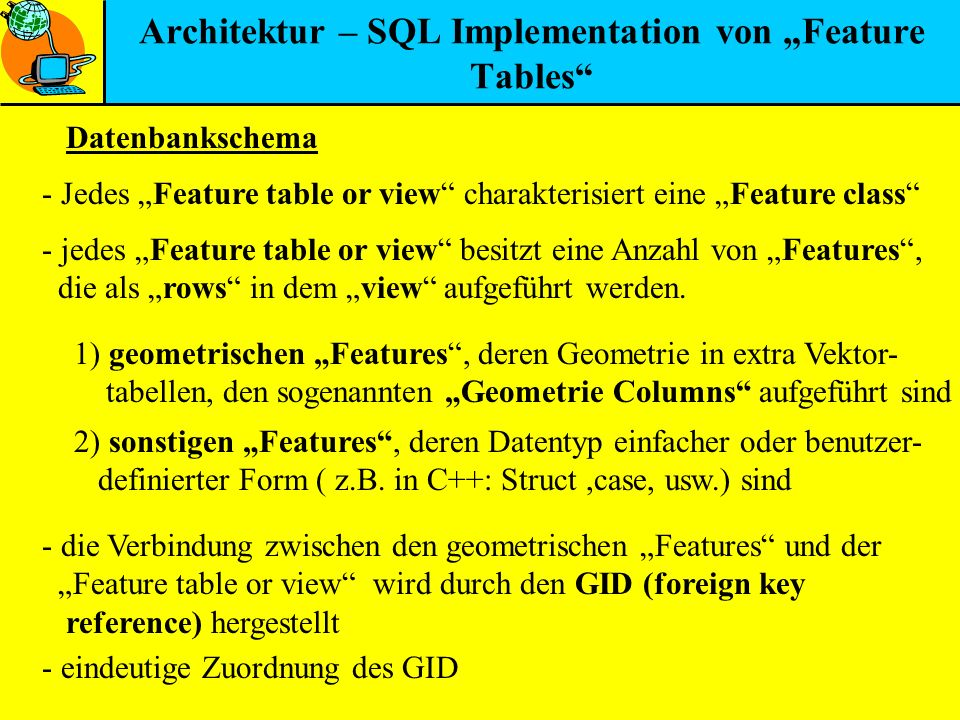 "Architektur – SQL Implementation von ""Feature Tables"