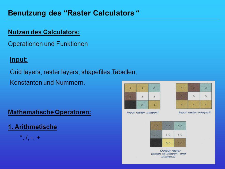 Benutzung des Raster Calculators
