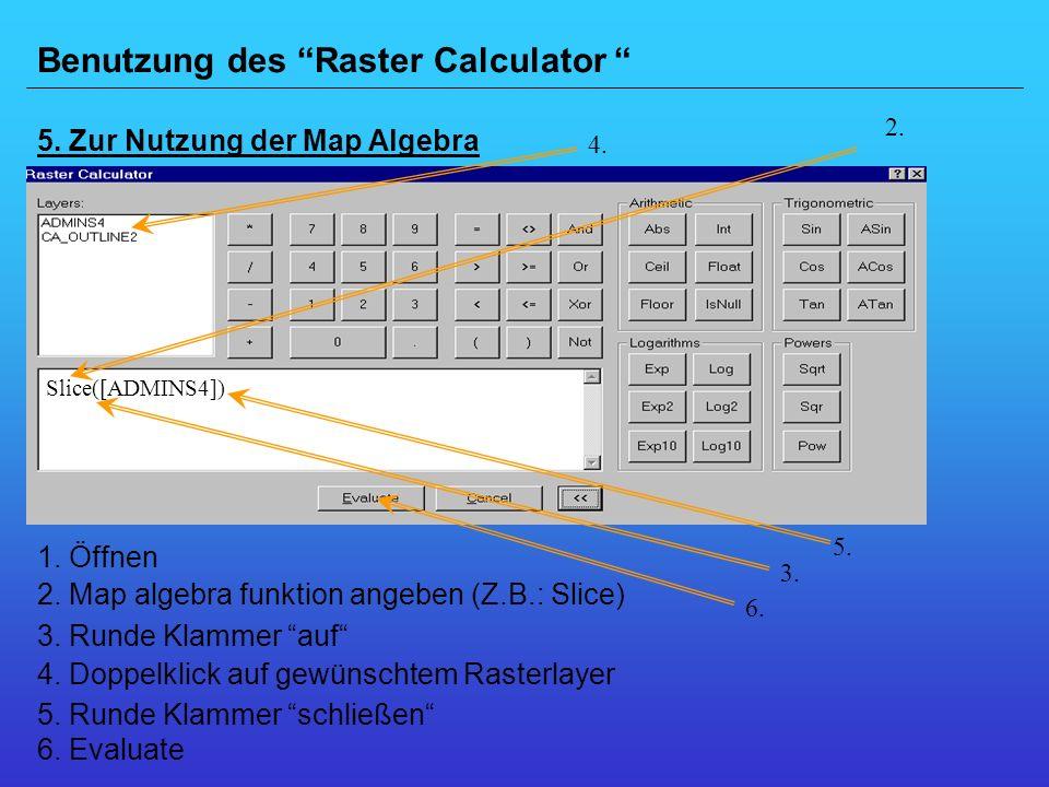 Benutzung des Raster Calculator