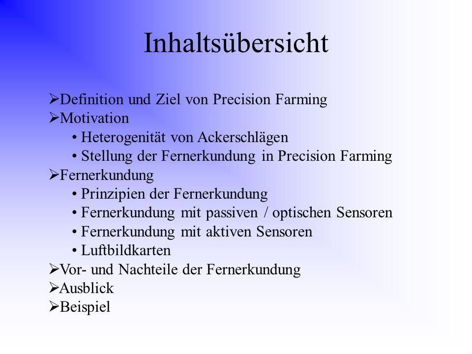 Inhaltsübersicht Definition und Ziel von Precision Farming Motivation