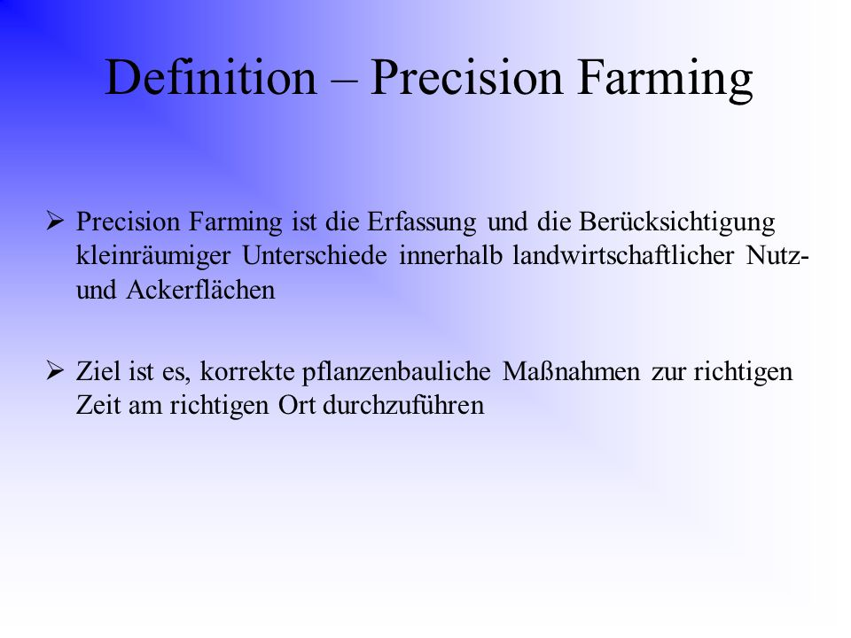 Definition – Precision Farming