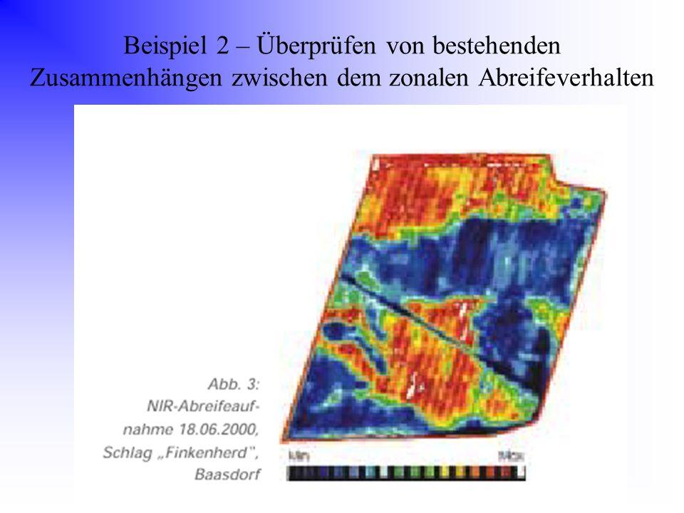 Beispiel 2 – Überprüfen von bestehenden Zusammenhängen zwischen dem zonalen Abreifeverhalten
