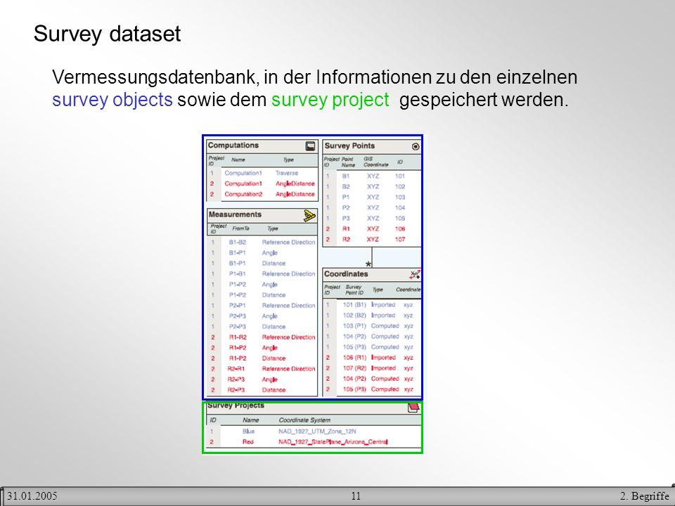 Survey dataset Vermessungsdatenbank, in der Informationen zu den einzelnen survey objects sowie dem survey project gespeichert werden.
