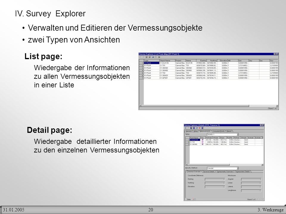 Verwalten und Editieren der Vermessungsobjekte