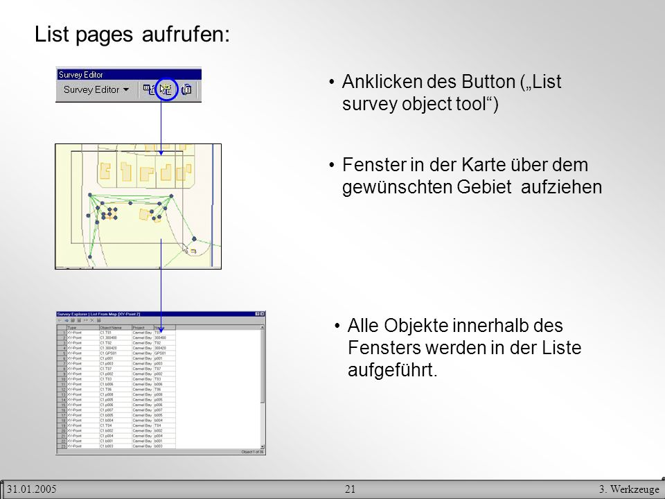 "List pages aufrufen: Anklicken des Button (""List survey object tool )"