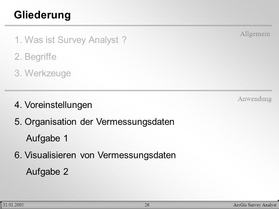 Gliederung 1. Was ist Survey Analyst 2. Begriffe 3. Werkzeuge