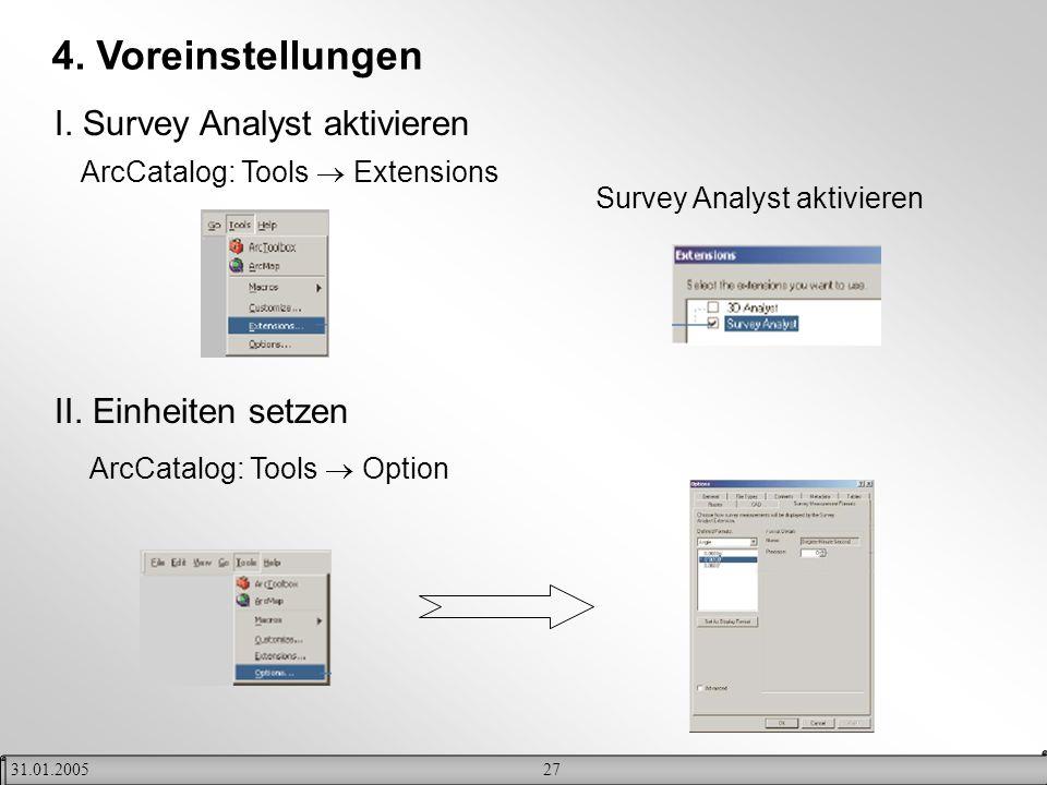 4. Voreinstellungen I. Survey Analyst aktivieren II. Einheiten setzen