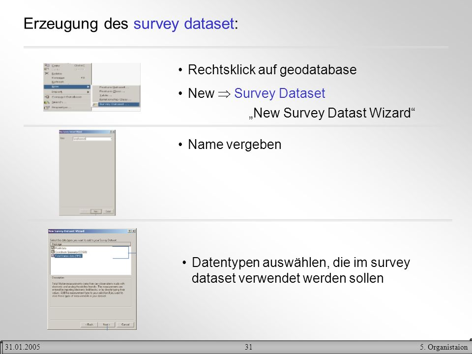 Erzeugung des survey dataset: