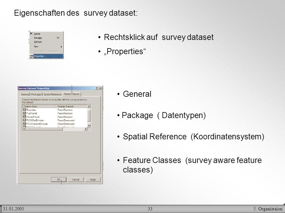 Eigenschaften des survey dataset: