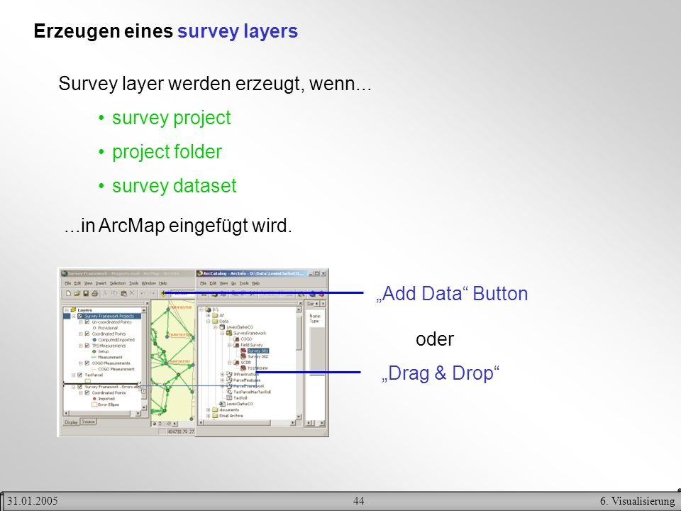 Erzeugen eines survey layers