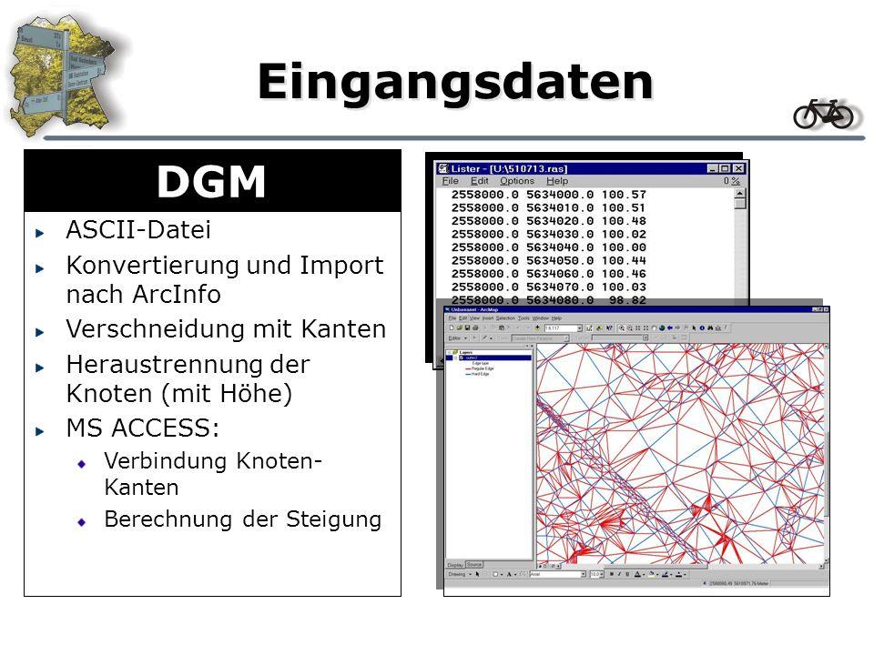 Eingangsdaten DGM ASCII-Datei Konvertierung und Import nach ArcInfo