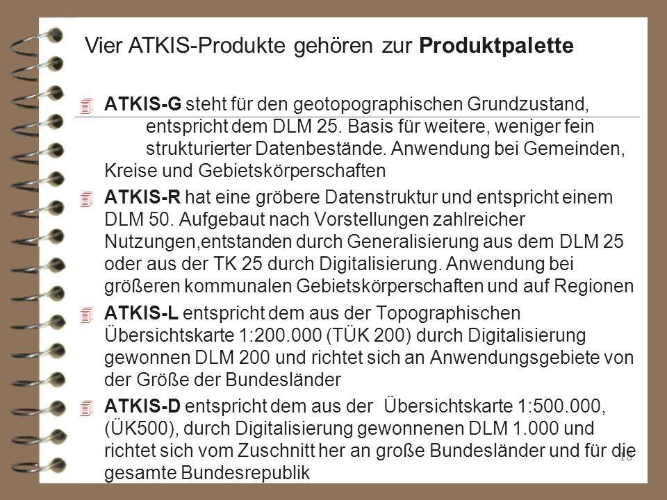 Vier ATKIS-Produkte gehören zur Produktpalette
