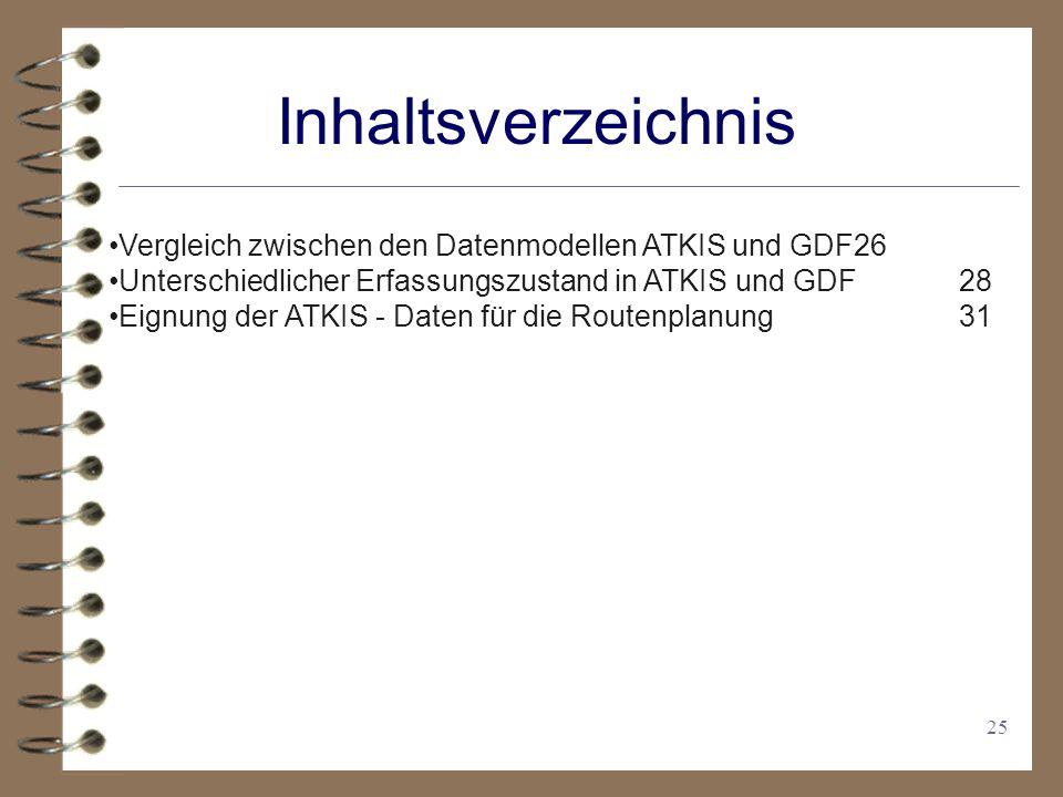 Inhaltsverzeichnis Vergleich zwischen den Datenmodellen ATKIS und GDF 26. Unterschiedlicher Erfassungszustand in ATKIS und GDF 28.