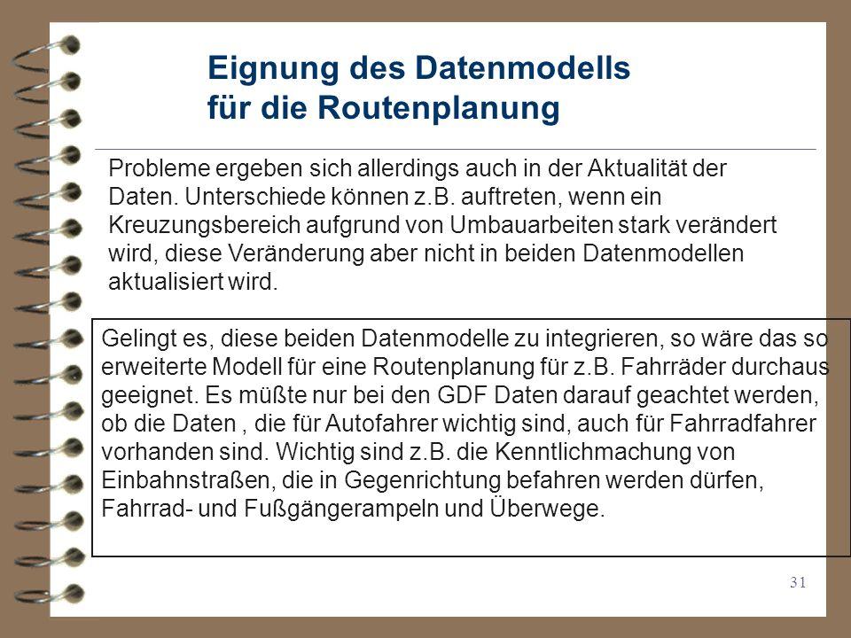 Eignung des Datenmodells für die Routenplanung