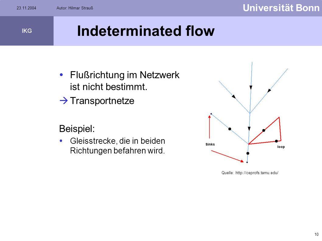 Indeterminated flow Flußrichtung im Netzwerk ist nicht bestimmt.