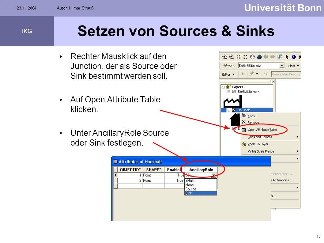 Setzen von Sources & Sinks