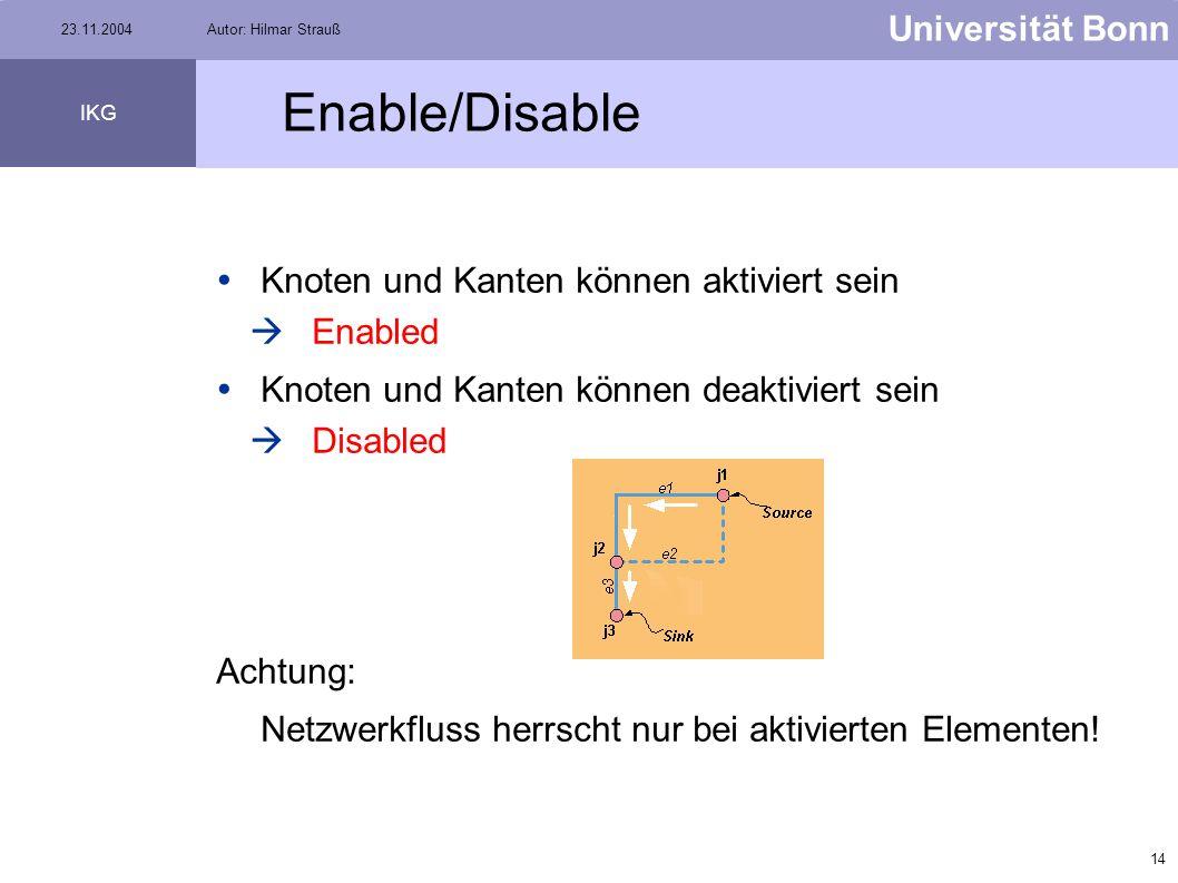 Enable/Disable Knoten und Kanten können aktiviert sein Enabled