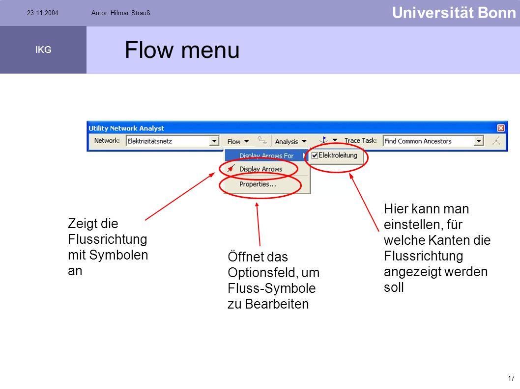 Flow menu Hier kann man einstellen, für welche Kanten die Flussrichtung angezeigt werden soll. Zeigt die Flussrichtung mit Symbolen an.