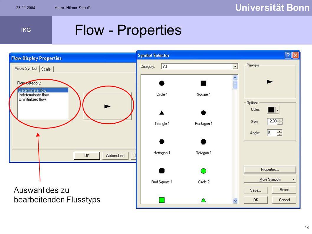 Flow - Properties Auswahl des zu bearbeitenden Flusstyps
