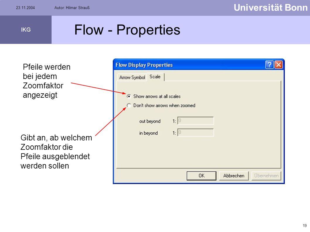 Flow - Properties Pfeile werden bei jedem Zoomfaktor angezeigt