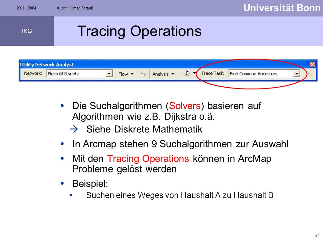 Tracing Operations Die Suchalgorithmen (Solvers) basieren auf Algorithmen wie z.B. Dijkstra o.ä. Siehe Diskrete Mathematik.