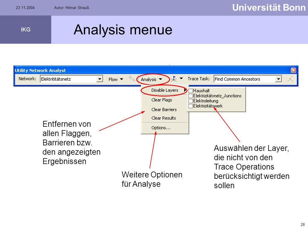 Analysis menue Entfernen von allen Flaggen, Barrieren bzw. den angezeigten Ergebnissen.