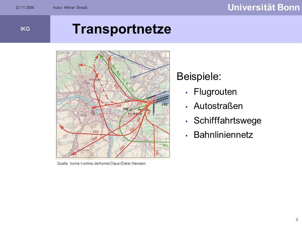 Transportnetze Beispiele: Flugrouten Autostraßen Schifffahrtswege
