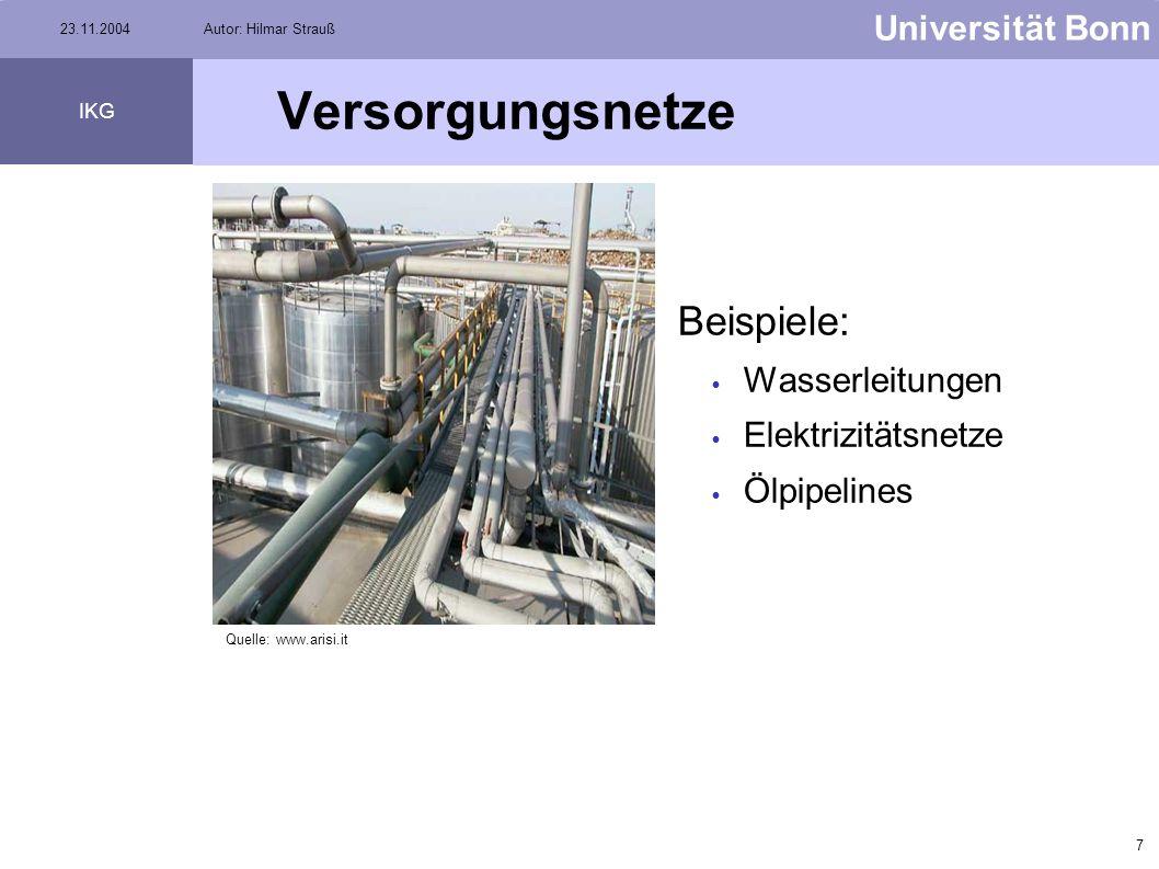 Versorgungsnetze Beispiele: Wasserleitungen Elektrizitätsnetze