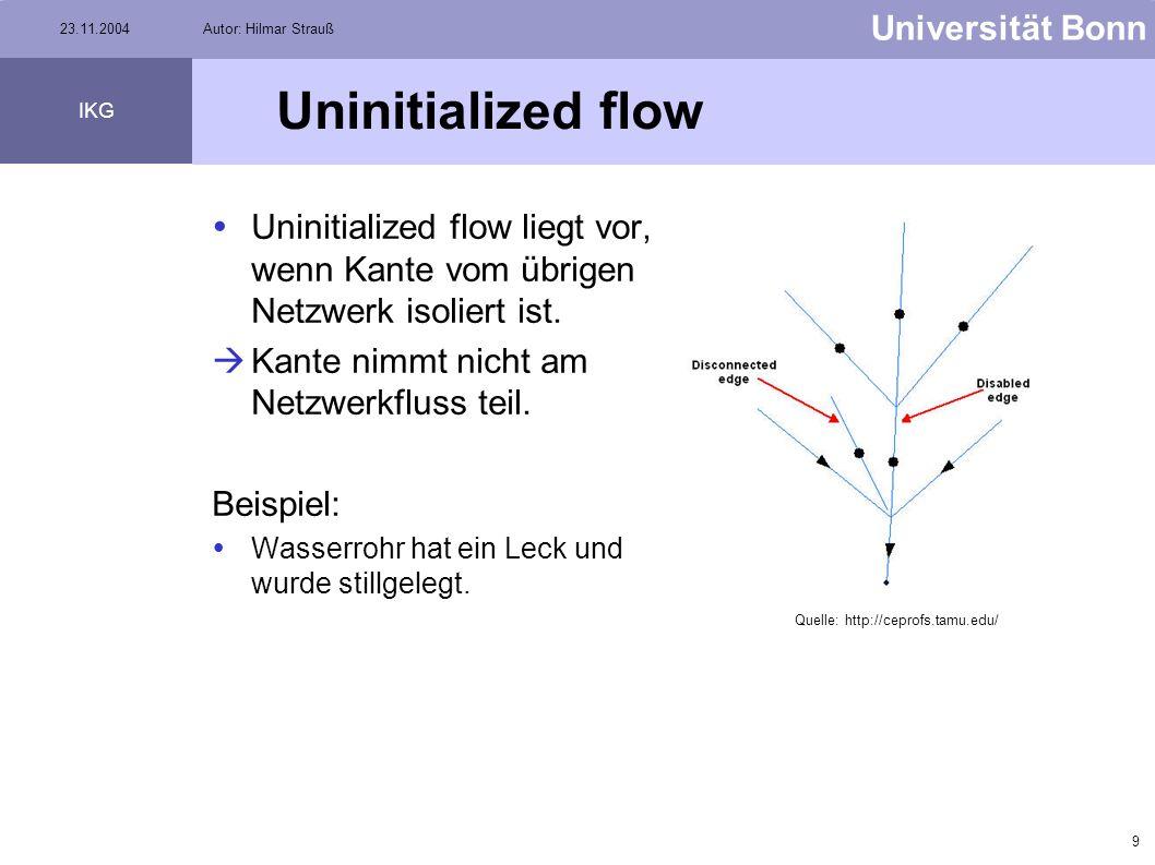 Uninitialized flow Uninitialized flow liegt vor, wenn Kante vom übrigen Netzwerk isoliert ist. Kante nimmt nicht am Netzwerkfluss teil.