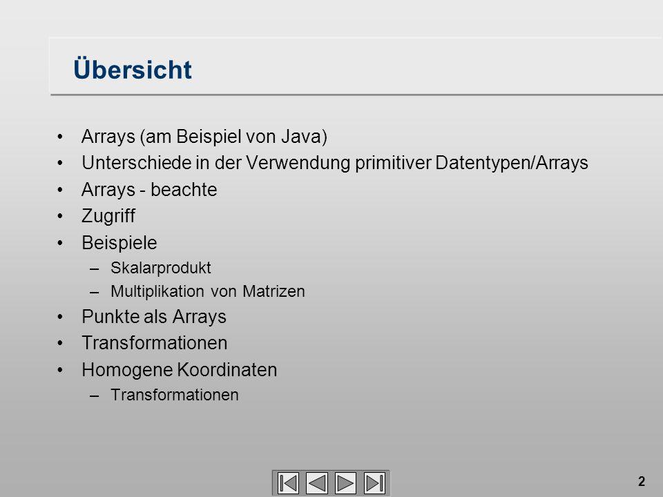 Übersicht Arrays (am Beispiel von Java)