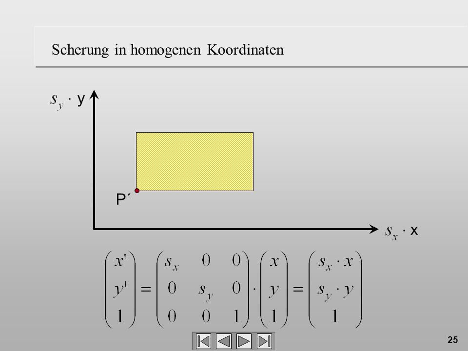 Scherung in homogenen Koordinaten