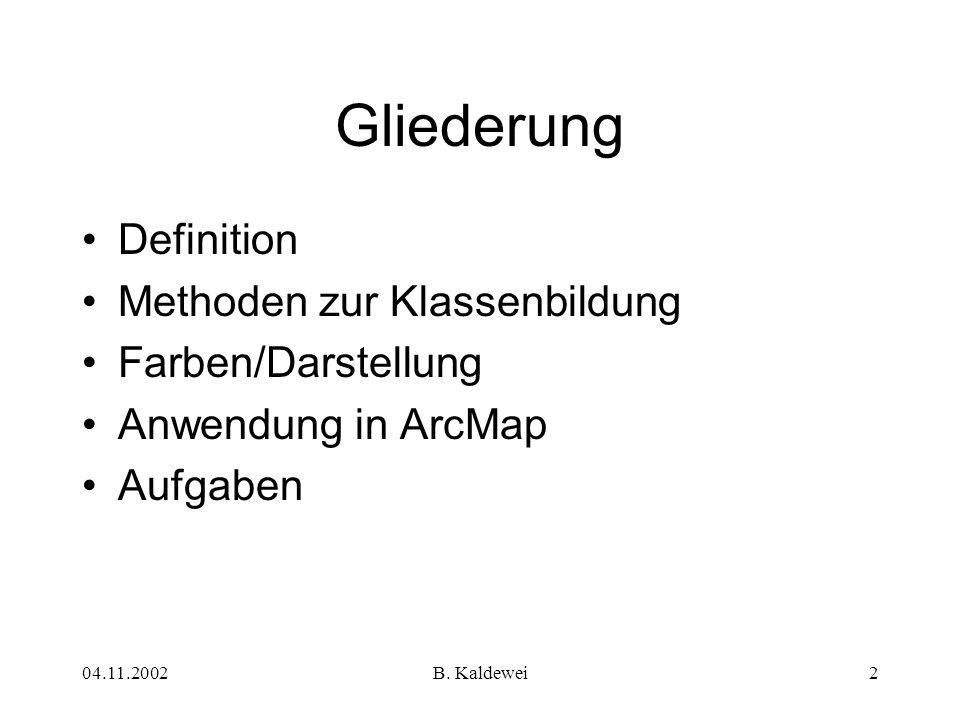 Gliederung Definition Methoden zur Klassenbildung Farben/Darstellung