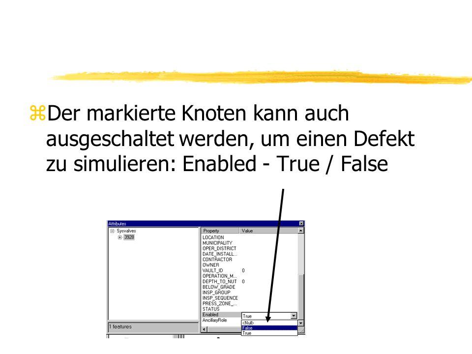 Der markierte Knoten kann auch ausgeschaltet werden, um einen Defekt zu simulieren: Enabled - True / False