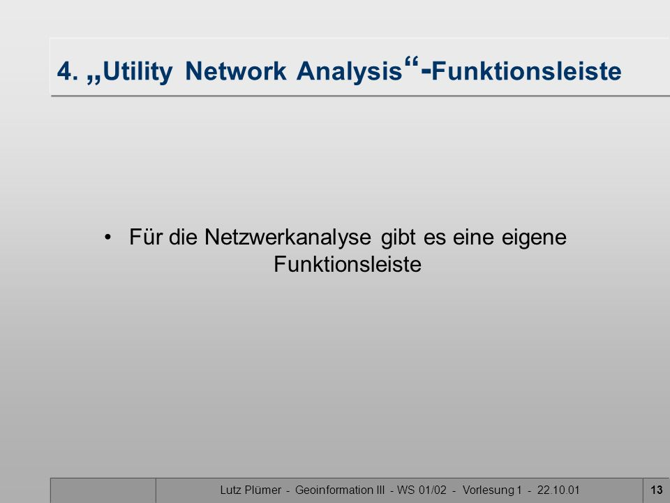 "4. ""Utility Network Analysis -Funktionsleiste"