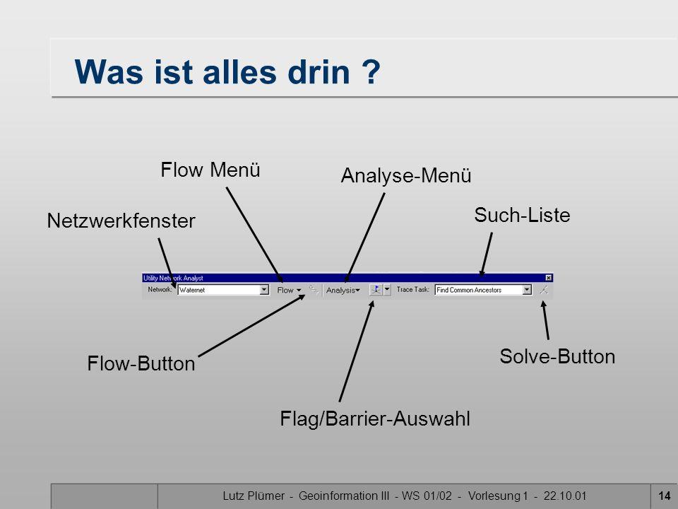 Was ist alles drin Flow Menü Analyse-Menü Such-Liste Netzwerkfenster