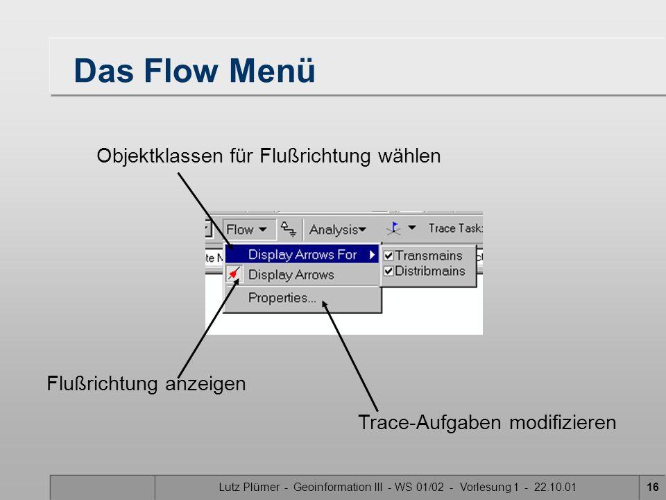 Das Flow Menü Objektklassen für Flußrichtung wählen