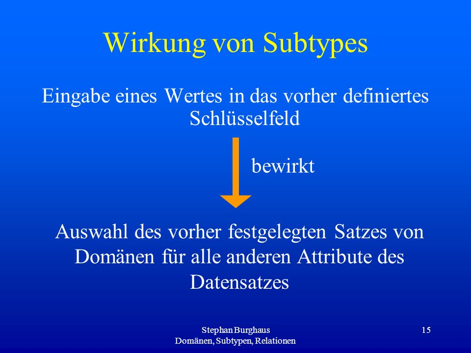 Wirkung von SubtypesEingabe eines Wertes in das vorher definiertes Schlüsselfeld. bewirkt.