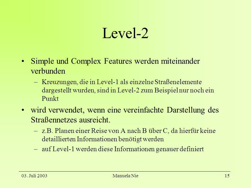 Level-2 Simple und Complex Features werden miteinander verbunden